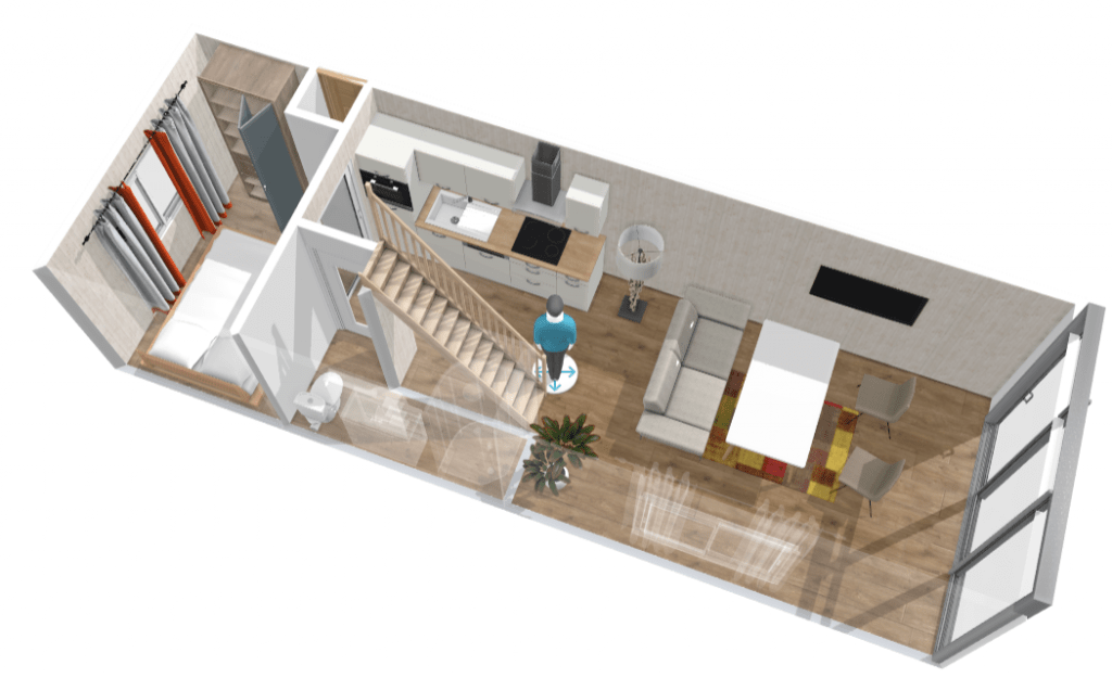 Wooden tiny house interior 3D